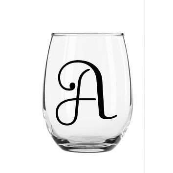 Monogramed Stemless Wine Glass