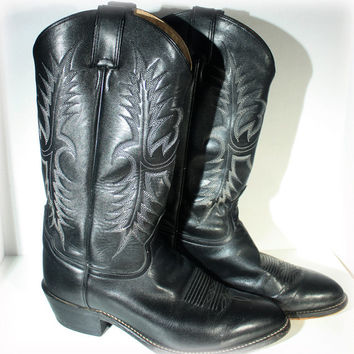 Tony Lama Men's Pampas Black Leather Cowboy Boots Size 7E