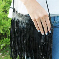 Funky Fringe Leather Crossbody in Black
