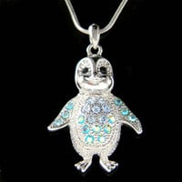 Swarovski Crystal Blue Baby Emperor Penguin Antarctica Pendant Charm Necklace Cute New Best Friend Girls Gift