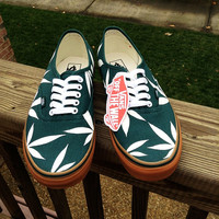 Evergreen/Off-White Marijuana Leaf Themed Custom Vans