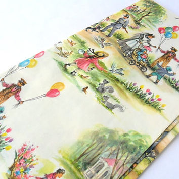 Vintage English Park Baby Shower Gift Wrap Paper 25.5 x 19 Balloon Vendor Nanny Bobby Fountain Squirrels 1960s England Wrapping Paper