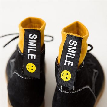 Funny Smile Women Socks Harajuku Japanese Cotton Yellow Retro