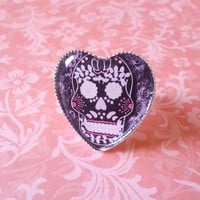 Hipster high fashion sugar skull Adjustable Ring for trendy kids, tween, or teen girls