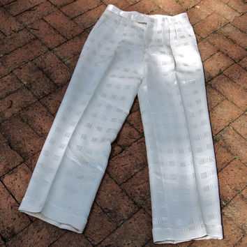 Men's Vintage White Polyester Satin Patterned 31R Alberto Celini Disco Pants