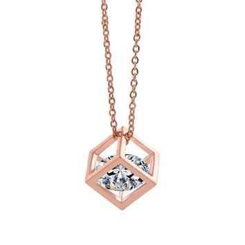 18k Rose Gold Plated Simple Square Necklace Cube Pendant Everyday Jewerly (0.5cm)