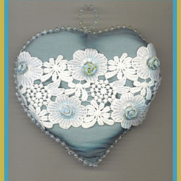VALENTINE'S DAY HEART Baby Blue Silk Lace by TheMaineCoonCat