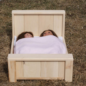 """Handmade Unfinished Pine Double Farmhouse bed for the American Girl or 18"""" Doll"""