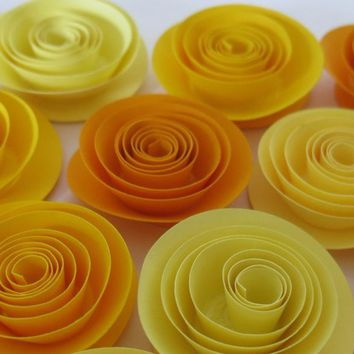 "Shades of Yellow roses, 12 Ombre paper flower wedding decorations, Gender neutral baby shower decor, Child birthday party favors, 1.5"" rosette"