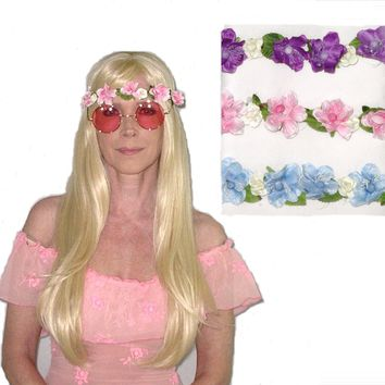 Flower Crown Purple Pink Or Blue You Choose Floral Elasticized Headband Be Sure To Wear Hippie Flowers In Your Hair