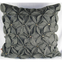 Design Accents SL 30168B - Poinsettia Grey Grey Poinsettia With Jewels Felt 20 x 20 Decorative Pillow