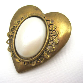 Vintage Heart Locket Brooch - Brass Heart Locket