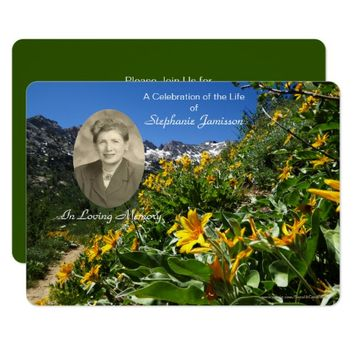 Celebration of Life Invitation, Flowers with Photo Card