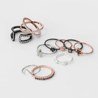 Women's Ring Multicolored Pack  with Stars, Arrow, and Pave Band - Rose Gold
