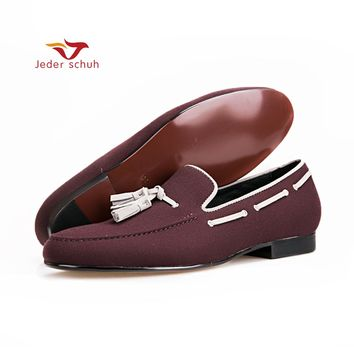Velvet shoes handmade Black tassel loafers Men party and wedding shoes Smoking slipper Size US 6-13 Free shipping