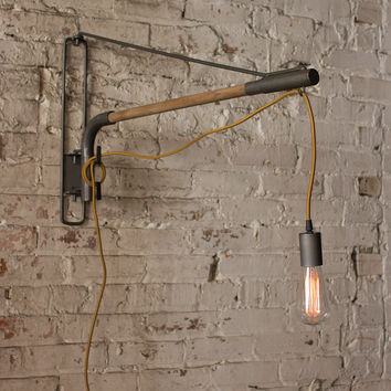 Wood & Iron Swinging Wall Lamp
