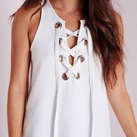 Missguided - Eyelet Lace Up Cami Top White