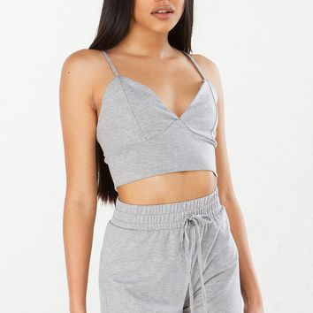 Knit Bralette Top in Grey