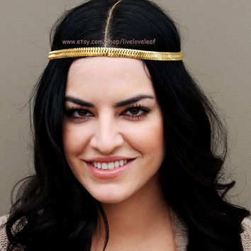 Beautiful Goddess Headchain, Gold snake chain bohemian Headchain, Hair jewelry, hair piece, accessory, accessories, Greek, prom, homecoming