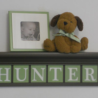 "Letter Wooden Wall Nursery Custom Letters for HUNTER 24"" Chocolate Brown Shelf Sign 6 Letters Light Green Boy Nursery Decor"