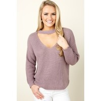 Right On Trend Dusty Purple Sweater