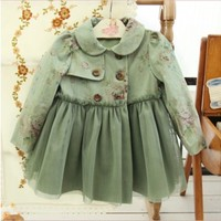 Vintage Inspired Girls Clothes Vintage Inspired floral trench coat | Vindie Baby