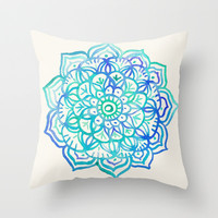 Watercolor Medallion in Ocean Colors Throw Pillow by micklyn