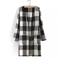 Plaid Long-Sleeve Knitted Coat With Pocket