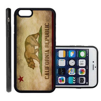 RCGrafix Brand California Republic Flag Grunge Distressed Apple Iphone 6 Plus Protective Cell Phone Case Cover - Fits Apple Iphone 6 Plus