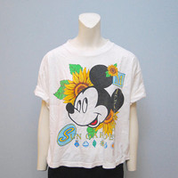 Vintage 1990's Mickey Mouse Sun Garden Slightly Cropped T-Shirt - Sunflowers Disney Tee Shirt - Crop Top Tshirt