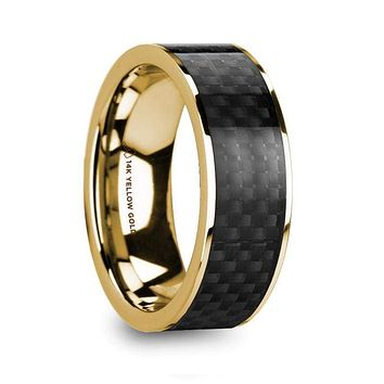 Qeshaun 14k Yellow Gold Men's Wedding Ring with Black Carbon Fiber Inlay Polished - 8mm