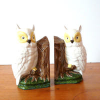 ceramic owl bookends, vintage owls, kitschy, woodland, home accents, home decor, office, den, bookend set, 60s, retro ceramics