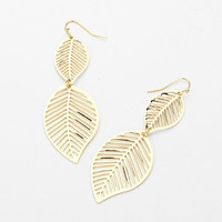 Double Cut Out Leaf Earrings Gold
