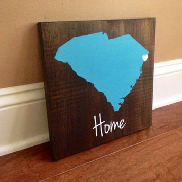 South Carolina Wood Sign, Custom South Carolina Sign, Stained and Hand Painted, Personalize, South Carolina decor