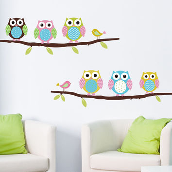 Colorful Owl on the Tree DIY Wall Sticker