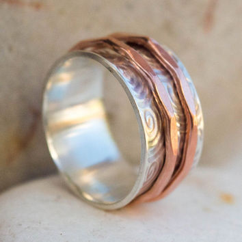 Spinner ring, Wide silver ring, Two spinner ring, Meditation ring, Spinner ring for womens, Worry ring, Gift for her, Elegant spinner ring