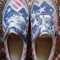 theothersideofthepillow — vintage VANS stars & stripes usa BETSY print canvas era style #95 MADE IN USA 1990's US7