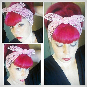 Pink Lace one sided WIDE Headwrap Bandana Hair Bow Tie 1950s Vintage Style - Rockabilly - Pin Up - For Women, Teens