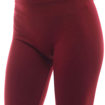Women's Plus Solid Bright and Vibrant Color Fleece Leggings