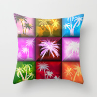 Palm Trees Abstract Art Throw Pillow by Artisticcreationsusa