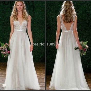 sparkly bridesmaid dresses 2015 long lace prom dress deep V-neck party elegant evening wedding dress vestido de festa