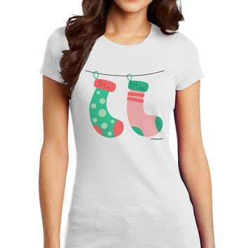 Cute Mr and Mrs Christmas Couple Stockings Juniors T-Shirt by TooLoud