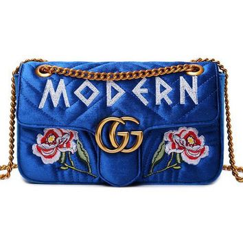 Gucci Women Leather Embroidery Satchel Handbag Shoulder Bag