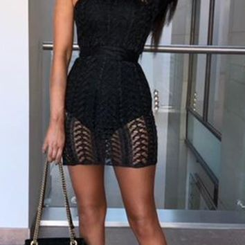 Bad Ideas Black Sheer Lace One Shoulder Long Sleeve Zig Zag Pattern Bodycon Mini Dress