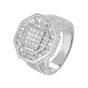 Men's Custom Designer Baguette Iced Out Octagon Shape Ring