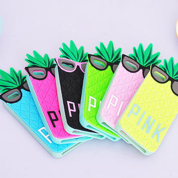 Candy Color PINK 3D Silicone Fashion Fruit Pineapple Love Soft Back Cover Case for Iphone 6 5s 5 4s 4 6g 5g