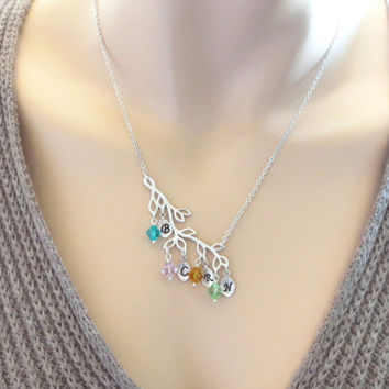 Personal, Birthstone, Initial, Leaf, Charm, Gold, Silver, Necklace, Family, Tree, Necklace, Family, Birthday, Friends, Sister, Gift, Jewelry