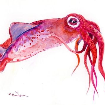Squid artwork, One of a kind original watercolor painting, sea world animals art, wall design illustration,sky, red pink sea food