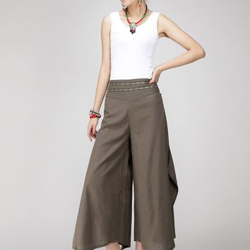 Women Retro Printing pants casual loose gray long pants