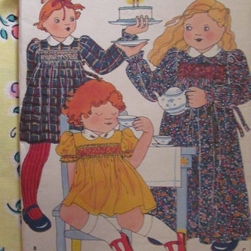 SALE Uncut 1970's Butterick Sewing pattern, 5555! Betsy Johnson Designs/Size 3  Toddler/Girls/Collared Dress/Embroidery & Smocking Transfer